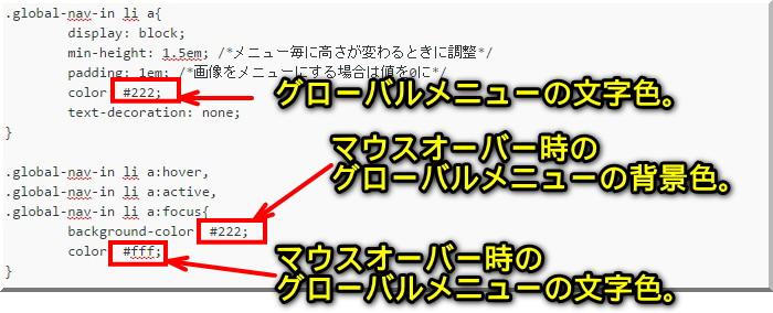 賢威7でグローバルメニューの色を変更する方法1
